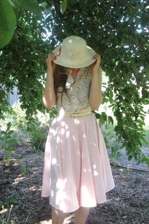 cream hat - light yellow belt - light pink skirt