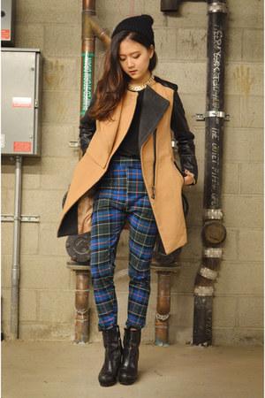 plaid pants Q2HAN pants - Sheinside coat