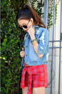 Denim-jacket-chicnova-jacket-q2han-shorts-gold-bracelets-shoplately-bracelet