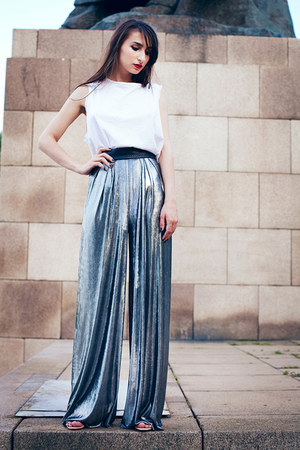 white white basic Mango top - silver metallic Alexandra Calafeteanu pants