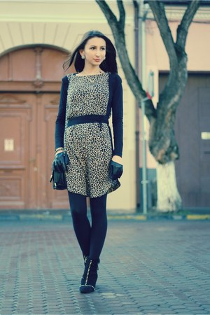 studded Zara boots - thrifted dress - quilted asos purse - skull BONE necklace