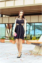 black cobweb asos dress - hot pink The Bag Shop purse - black Zara heels