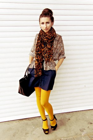 gold Zara tights - navy SOliver dress - dark brown Zara scarf - black Zara bag