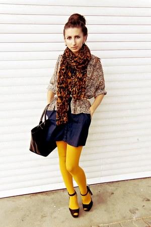 gold Zara tights - navy SOliver dress - dark brown Zara scarf - black Zara bag