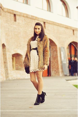 ivory lace asos dress - black studded Zara boots - brown faux fur TFNC coat