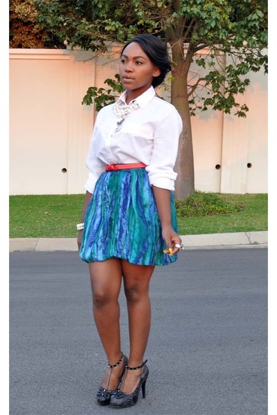 turquoise blue vintage skirt - iron fist shoes - red Sowearto belt