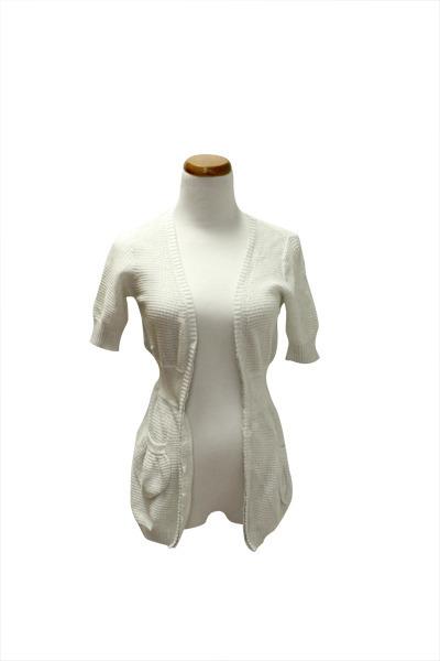 off white waffle QiCashmere cardigan