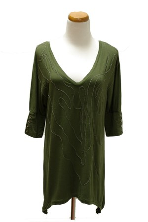 army green Qi top