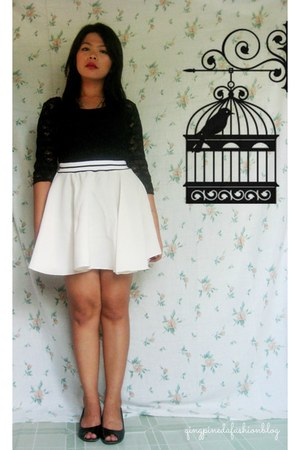 black lace warehouse top - off white skirt - black leather wedges