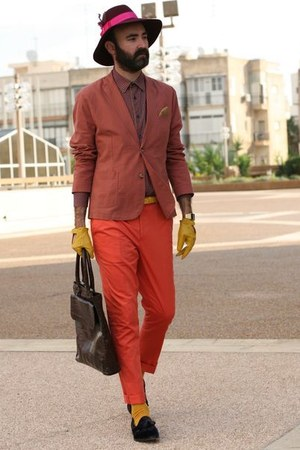 yellow American Apparel socks - salmon blazer - orange asos pants