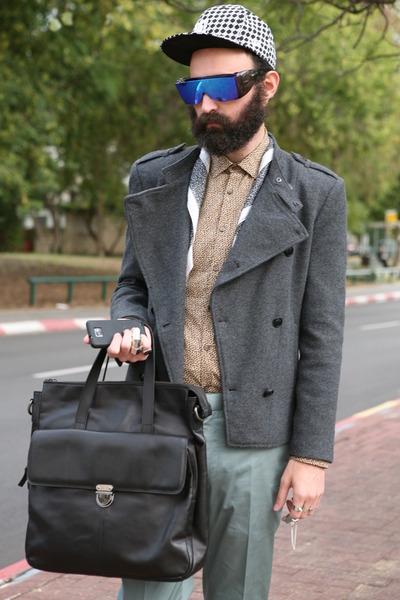 gray coat - black leather bag za bag - teal asos pants