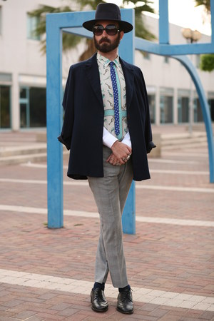 blue second hand blazer - sky blue za shirt - heather gray ben sherman pants