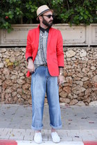 blue janco jeans jeans - coral H&M blazer - black cotton second hand shirt