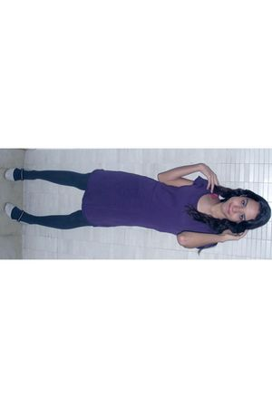 purple Eclectic dress - green lupo pants - silver new order shoes