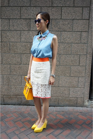 ivory Frees shop skirt - kelly Hermes bag