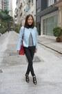 Light-blue-leather-jacket-zara-jacket-ruby-red-kelly-bag-hermes-bag