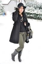 black H&M hat - olive green Forever 21 pants - black boots - black balenciaga ba