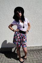 black Forever 21 hat - pink American Apparel t-shirt - black H&M skirt - black A
