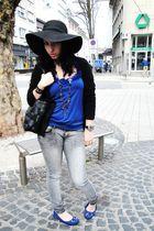 black Forever 21 hat - gray Forever 21 jeans - blue Rave top - blue American Eag