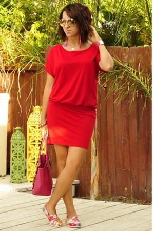 red Mossimo dress - off white TOMS shoes - hot pink jetset Michael Kors bag