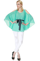 Shannon | Mint Sheer Circle Cut Flutter Sleeve Blouse