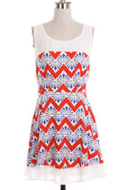 Red White & Blue Print Dress