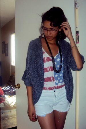 Forever 21 top - Charlotte Russe necklace - thrifted vintage cardigan