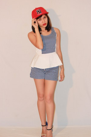 blue stripes Redhead shorts - blue stripes Redhead top