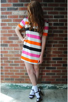 hot pink color block H&M dress - white socks - dark brown wooden Payless clogs