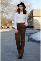 brown flared Zara pants - brick red platform Jeffrey Campbell boots