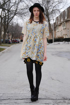 light yellow floral thrifted dress - black floral thrifted dress