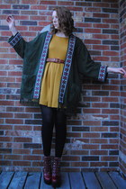dark green poncho thrifted cape - brick red leather Jeffrey Campbell boots