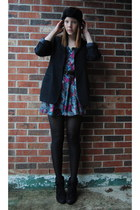 black Rampage boots - black thrifted blazer - black H&M tights