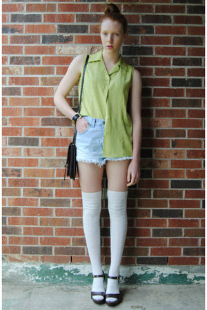 lime green neon thrifted top - light blue dip dye DIY shorts