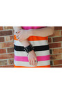 Orange-color-block-h-m-dress-black-bowler-h-m-hat-black-studded-bracelet