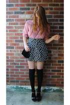 black velvet thrift purse - black knee high socks - black H&M skirt - pink pleat