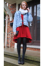 ruby red asymmetrical dress - sky blue denim thrifted jacket