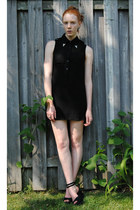 black asymmetrical katie dress - silver collar tips thrifted accessories