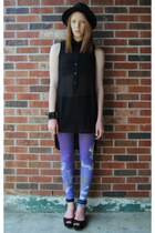 black bowler H&M hat - purple QooQoo leggings - black studded bracelet