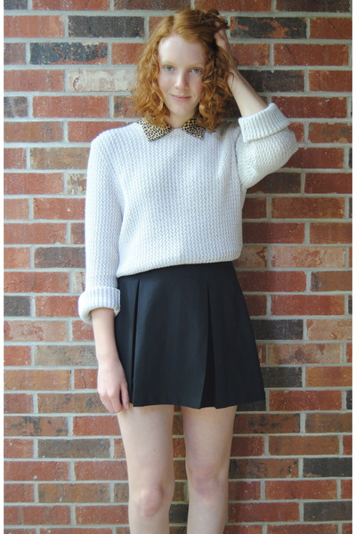 beige thrift sweater - black Rampage boots - black thrift skirt