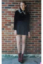 black thrifted skirt - brick red platform Jeffrey Campbell boots