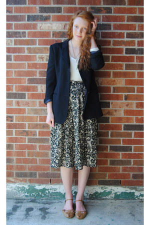 cream worn underneath H&amp;M dress - black thrift blazer - dark green thrift neckla