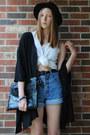 Black-bowler-h-m-hat-black-clutch-bag-sky-blue-denim-thrifted-shorts