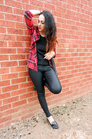 silver Kmart necklace - black spikes Nine West shoes - wet look cotton on jeans
