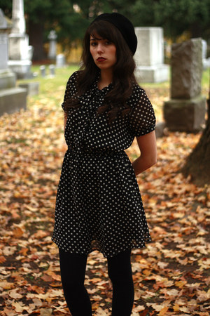 polka dots Forever 21 dress - beret Target hat - wool Target tights