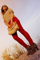 bronze new look boots - silver Vero Moda sweater - red Bershka pants