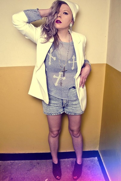 white Secondhand jacket - light blue sammydress sweater