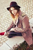 dark khaki no name coat - crimson H&M hat - beige H&M bag