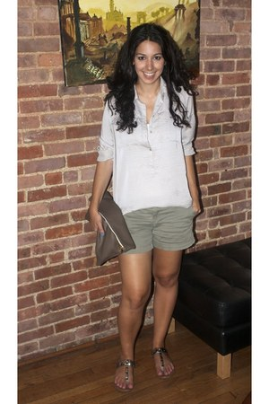 taupe - leather American Apparel bag - green khaki Old Navy shorts - silky top T