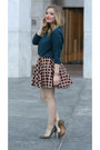 Tan-asos-skirt-dark-green-asos-sweatshirt-olive-green-nine-west-heels